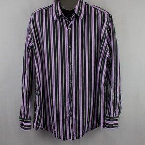 Claiborne Button Front Shirt XL Purple Black Mens